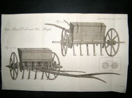 Agriculture 1790 Antique Print. Ridges Patent Drill